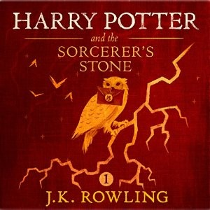 """""""Harry Potter and the Sorcerer's Stone, Book 1"""" audiobook cover. Written by J.K. Rowling and narrated by Jim Dale"""